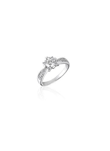 Tophills Diamond Co. 0,80 Ct Pırlanta Efekt Altın İlüzyon Princess Yüzük Renkli